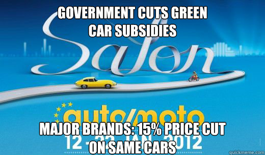 Government cuts green  car subsidies Major brands: 15% price cut  on same cars - Government cuts green  car subsidies Major brands: 15% price cut  on same cars  Misc