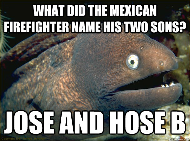 What did the mexican firefighter name his two sons? jOSE and hose B  Bad Joke Eel