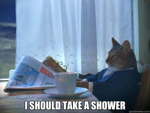 I should take a shower -  I should take a shower  The One Percent Cat