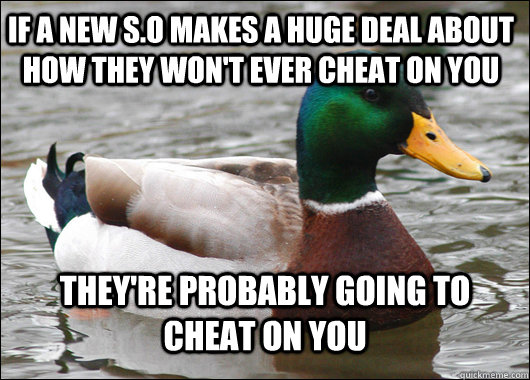 If a New S.o makes a huge deal about how they won't ever cheat on you They're probably going to cheat on you - If a New S.o makes a huge deal about how they won't ever cheat on you They're probably going to cheat on you  Actual Advice Mallard
