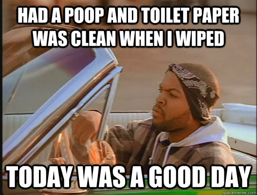 Had a poop and toilet paper was clean when i wiped Today was a good day - Had a poop and toilet paper was clean when i wiped Today was a good day  today was a good day