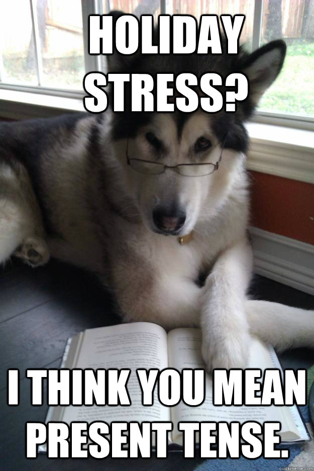 Holiday stress? I think you mean present tense. - Holiday stress? I think you mean present tense.  Condescending Literary Pun Dog