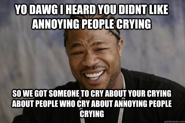 yo dawg i heard you didnt like annoying people crying so we got someone to cry about your crying about people who cry about annoying people crying  Xzibit meme
