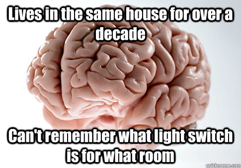 Lives in the same house for over a decade Can't remember what light switch is for what room  - Lives in the same house for over a decade Can't remember what light switch is for what room   Scumbag Brain