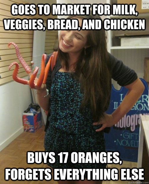 goes to market for milk veggies bread and chicken buys 17 oranges