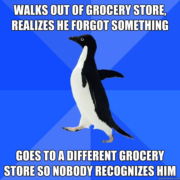 walks out of grocery store, realizes he forgot something goes to a different grocery store so nobody recognizes him - walks out of grocery store, realizes he forgot something goes to a different grocery store so nobody recognizes him  Socially Awkward Penguin