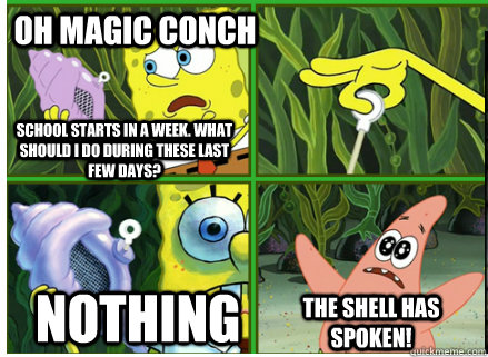 Oh Magic Conch NOTHING The SHELL HAS SPOKEN! School starts in a week. What should I do during these last few days?