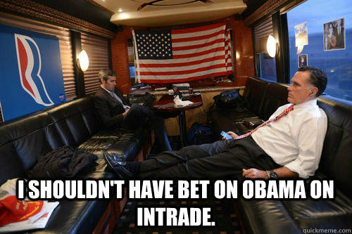 I shouldn't have bet on Obama on Intrade. -  I shouldn't have bet on Obama on Intrade.  Sudden Realization Romney