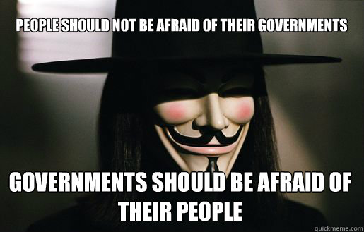 People should not be afraid of their governments governments should be afraid of their people  v for vendetta