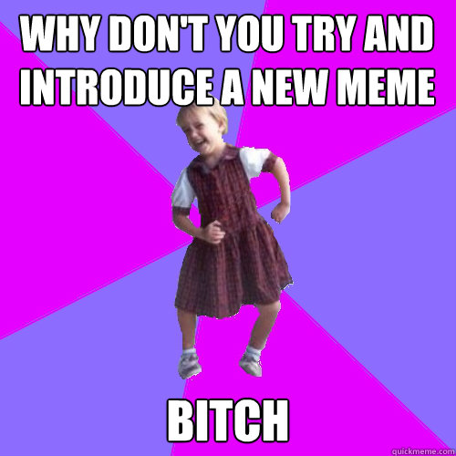 Why don't you try and introduce a new meme Bitch - Why don't you try and introduce a new meme Bitch  Socially awesome kindergartener