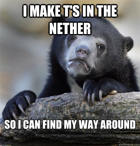 I make T's in the Nether So I can find my way around   - I make T's in the Nether So I can find my way around    Confession Bear