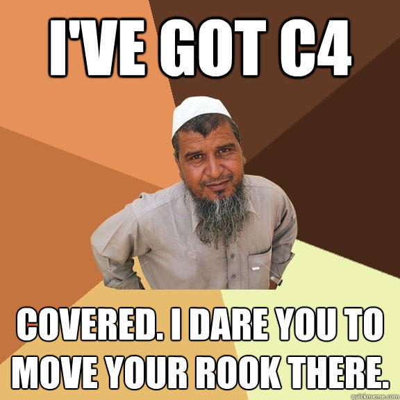 I've got c4 covered. I dare you to move your rook there. - I've got c4 covered. I dare you to move your rook there.  Ordinary Muslim Man