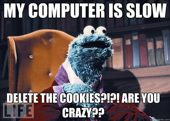 my computer is slow delete the cookies?!?! ARE YOU CRAZY?? - my computer is slow delete the cookies?!?! ARE YOU CRAZY??  Cookie Monster