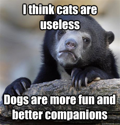 I think cats are useless Dogs are more fun and better companions - I think cats are useless Dogs are more fun and better companions  Confession Bear