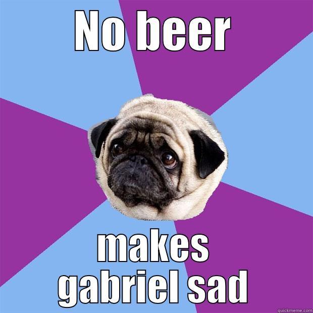 NO BEER MAKES GABRIEL SAD Lonely Pug