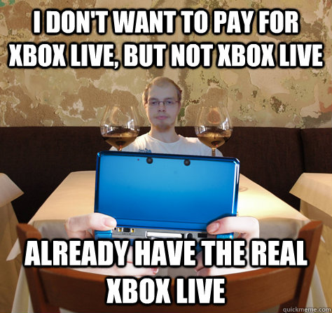 I don't want to pay for Xbox Live, but not Xbox Live Already have the real Xbox Live  icoyar