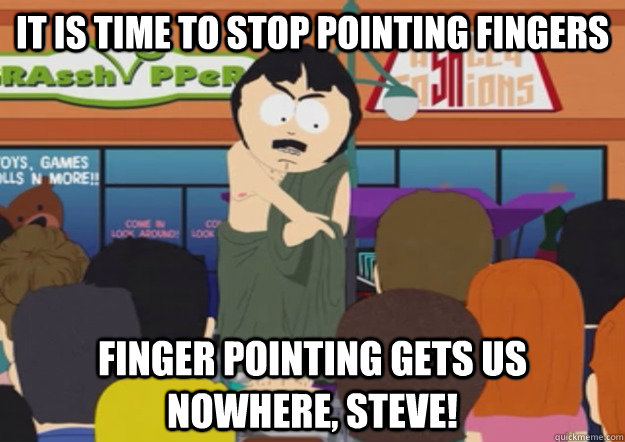 It Is Time To Stop Pointing Fingers Finger Pointing Gets Us Nowhere