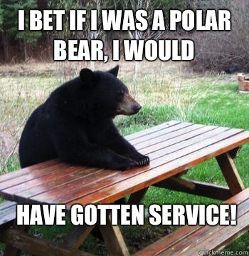 I bet if I was a polar bear, I would Have gotten service!