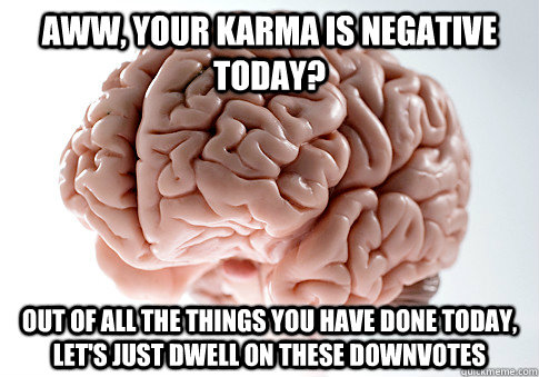 Aww, your karma is negative today? Out of all the things you have done today, let's just dwell on these downvotes - Aww, your karma is negative today? Out of all the things you have done today, let's just dwell on these downvotes  Scumbag Brain