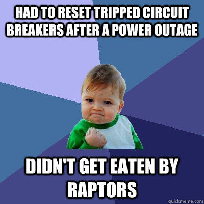 Had to reset tripped circuit breakers after a power outage Didn't get eaten by raptors