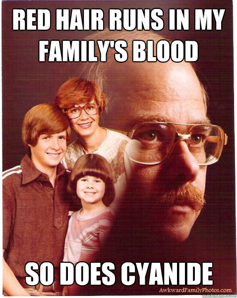 red hair runs in my family's blood so does cyanide - red hair runs in my family's blood so does cyanide  Vengeance Dad