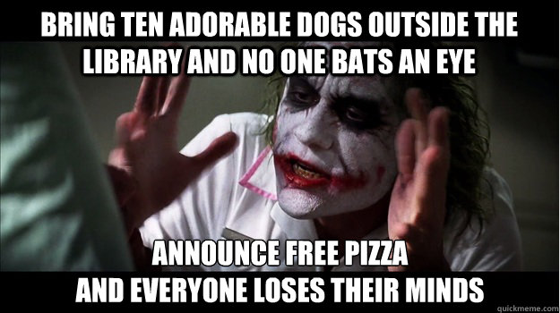 Bring ten adorable dogs outside the library and no one bats an eye announce free pizza  and everyone loses their minds - Bring ten adorable dogs outside the library and no one bats an eye announce free pizza  and everyone loses their minds  Joker Mind Loss