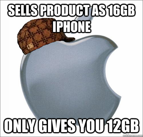 Sells product as 16GB iphone only gives you 12Gb