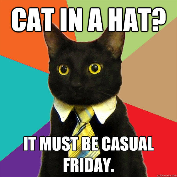 Cat in a hat? It must be casual Friday. - Cat in a hat? It must be casual Friday.  Business Cat