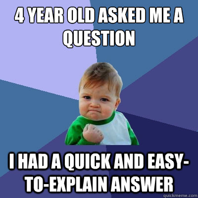 4 year old asked me a question I had a quick and easy-to-explain answer - 4 year old asked me a question I had a quick and easy-to-explain answer  Success Kid