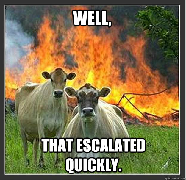 Well, that escalated quickly. - Well, that escalated quickly.  Evil cows
