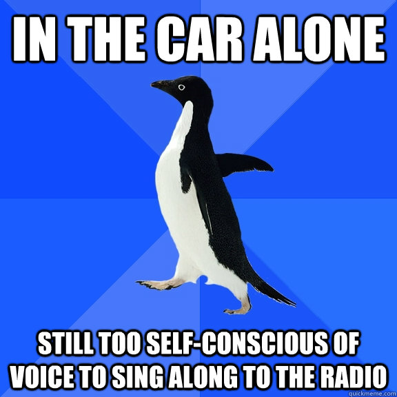 in the car alone still too self-conscious of voice to sing along to the radio - in the car alone still too self-conscious of voice to sing along to the radio  Socially Awkward Penguin