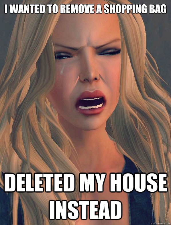 I wanted to remove a shopping bag Deleted my house instead  secondlifeproblems