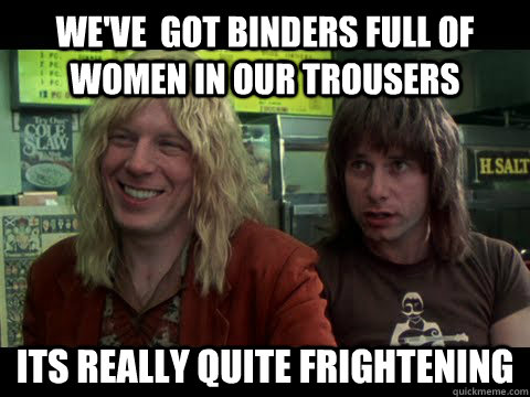 We've  got binders full of women in our trousers its really quite frightening - We've  got binders full of women in our trousers its really quite frightening  Nigel Romney