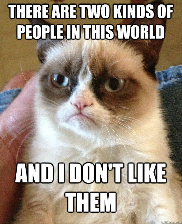there are two kinds of people in this world and i don't like them  Grumpy Cat