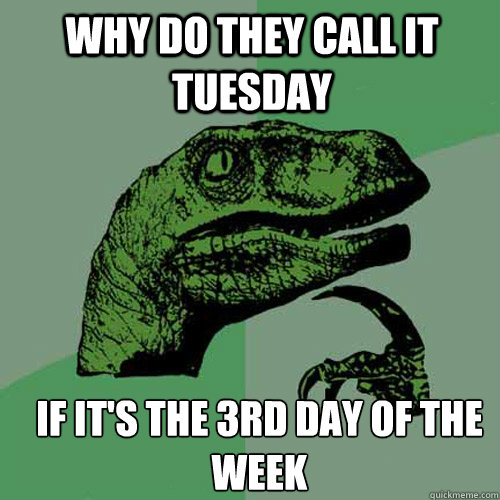 Why do they call it Tuesday If it's the 3rd day of the week - Why do they call it Tuesday If it's the 3rd day of the week  Misc