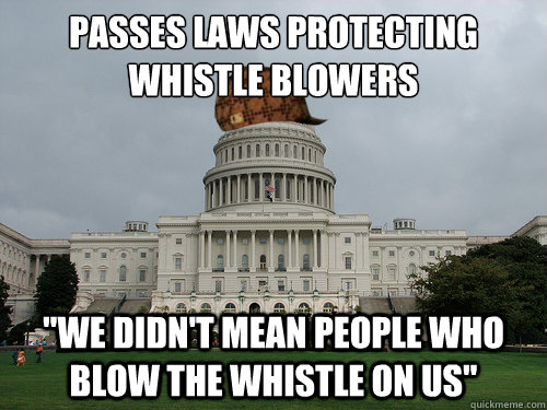 passes laws protecting whistle blowers