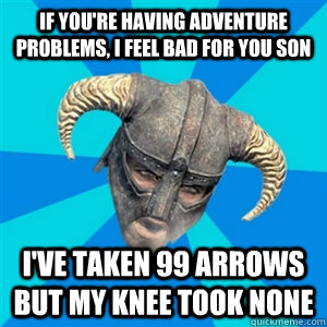 If you're having adventure problems, I feel bad for you son I've taken 99 arrows but my knee took none