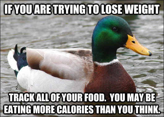 if you are trying to lose weight track all of your food.  You may be eating more calories than you think. - if you are trying to lose weight track all of your food.  You may be eating more calories than you think.  Actual Advice Mallard