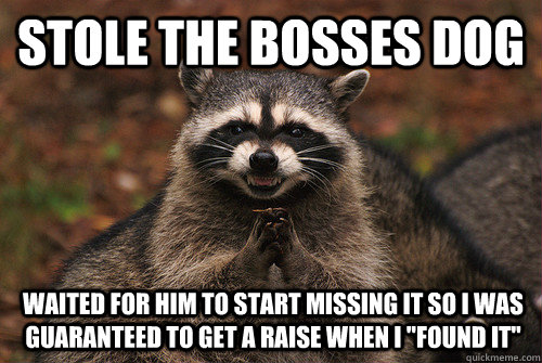 Stole the bosses dog  waited for him to start missing it so i was guaranteed to get a raise when i