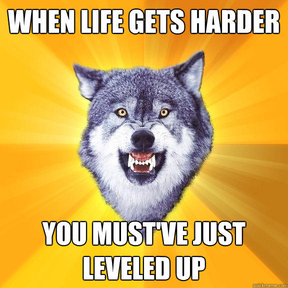 WHEN LIFE GETS HARDER YOU MUST'VE JUST LEVELED UP - WHEN LIFE GETS HARDER YOU MUST'VE JUST LEVELED UP  Courage Wolf