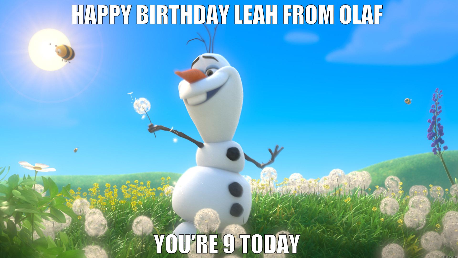 Leah's Birthday - HAPPY BIRTHDAY LEAH FROM OLAF YOU'RE 9 TODAY Misc