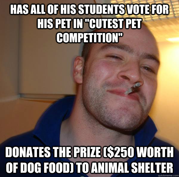 Has all of his students vote for his pet in
