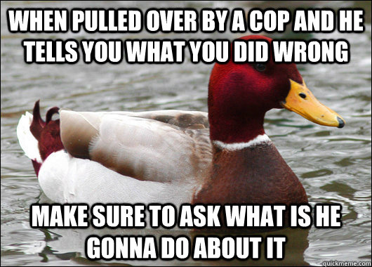 when pulled over by a cop and he tells you what you did wrong make sure to ask what is he gonna do about it - when pulled over by a cop and he tells you what you did wrong make sure to ask what is he gonna do about it  Malicious Advice Mallard