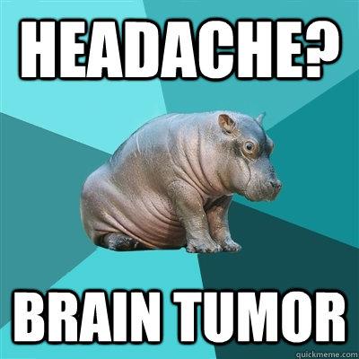 Headache? Brain Tumor  Hypochondriac Hippo