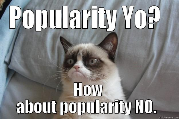 POPULARITY YO?  HOW ABOUT POPULARITY NO.  Grumpy Cat