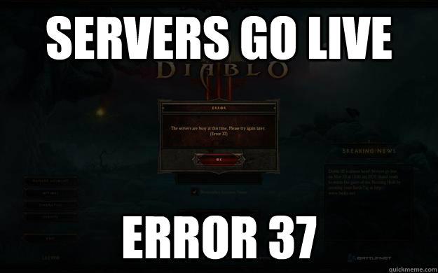 Servers go live Error 37