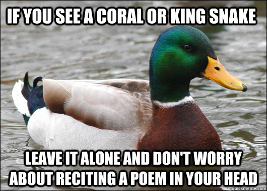 If you see a coral or king snake Leave it alone and don't worry about reciting a poem in your head - If you see a coral or king snake Leave it alone and don't worry about reciting a poem in your head  Actual Advice Mallard