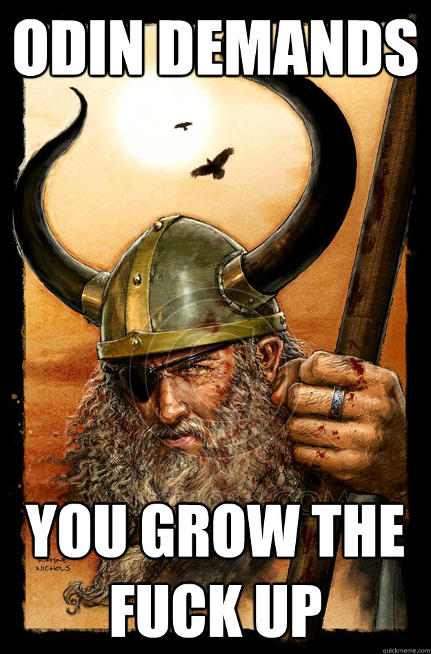 Odin demands YOU GROW THE FUCK UP