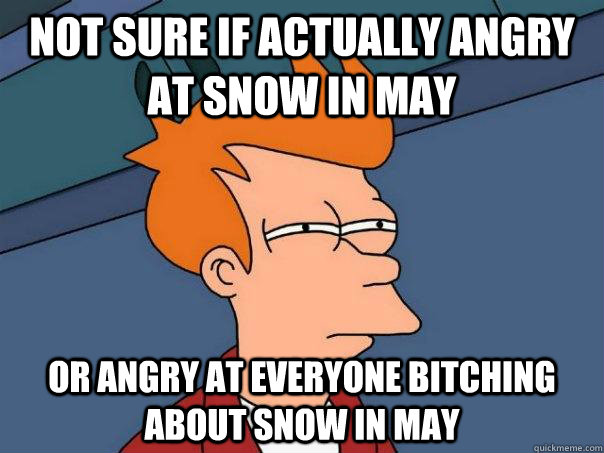 Not sure if actually angry at snow in May Or angry at everyone bitching about snow in May - Not sure if actually angry at snow in May Or angry at everyone bitching about snow in May  Futurama Fry