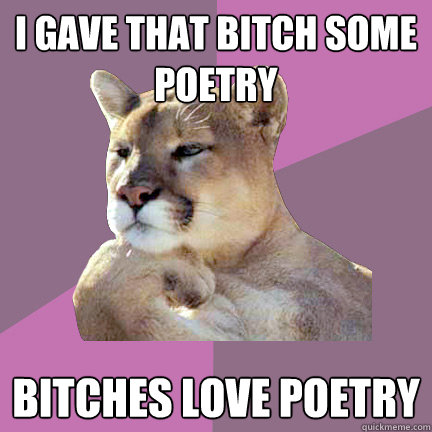 I gave that bitch some poetry Bitches love poetry